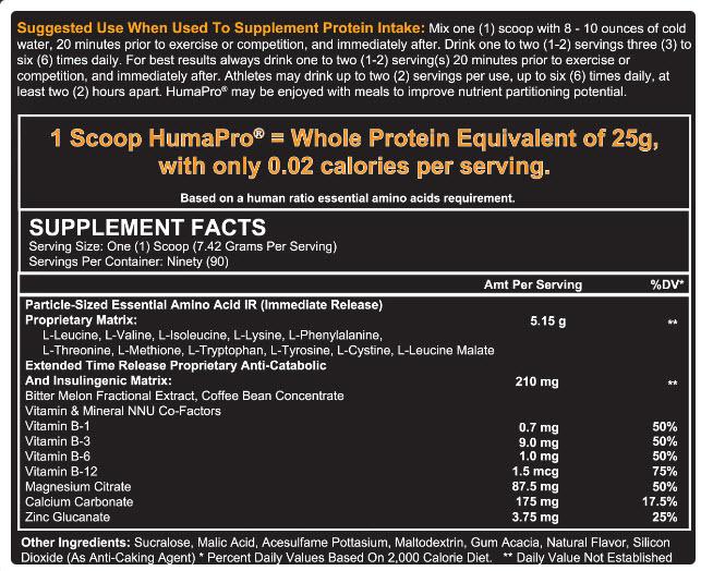 HumaPro Protein Powder Ingredient List