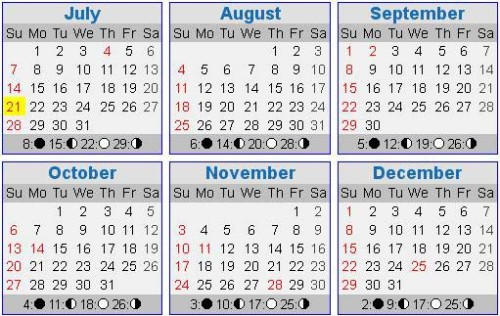 across the years calendar