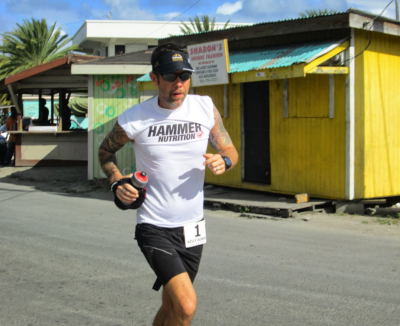 Kelly Agnew running in the Caribbean