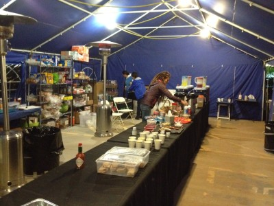The aid station at Across the Years 2013