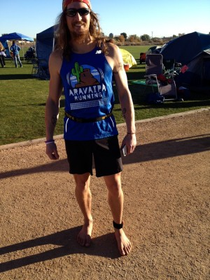 Barefoot Jake Brown at Across the Years Race 2013 with Chris Mavromatis