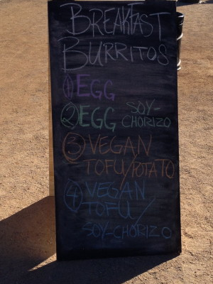 menu board at aid station at Across the Years race 2013
